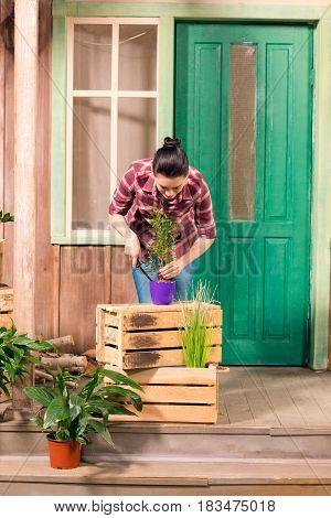 Smiling Young Woman Cultivated Plant In Pot While Standing On Porch