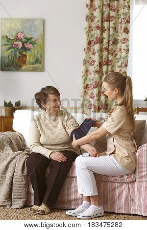 Woman Having Blood Pressure Measured