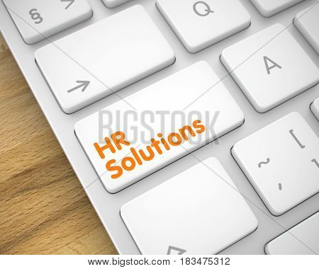 Online Service Concept with Modern Laptop Enter White Button on Keyboard: HR Solutions. Business Concept. White Keypad on Conceptual Keyboard. 3D Render.