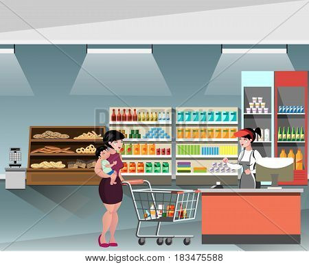 A Young cashier woman standing in supermarket. Vector illustration