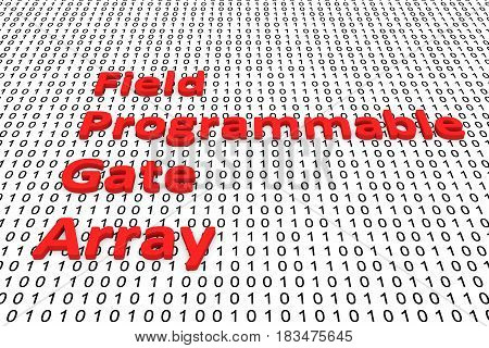 Field Programmable Gate Array in the form of binary code, 3D illustration