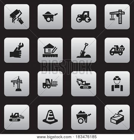 Set Of 16 Editable Construction Icons. Includes Symbols Such As Handcart , Scrub, Elevator. Can Be Used For Web, Mobile, UI And Infographic Design.