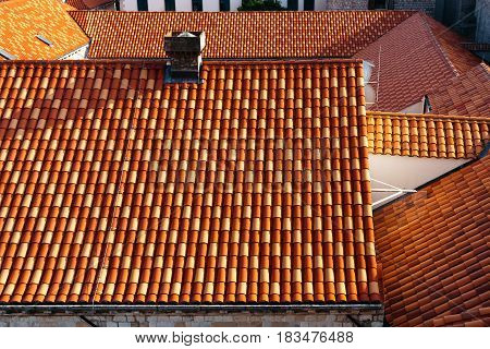 Top view of the roofs of houses in Dubrovnik, Croatia.