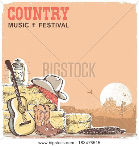 Country Music Background With Guitar And American Cowboy Equipment