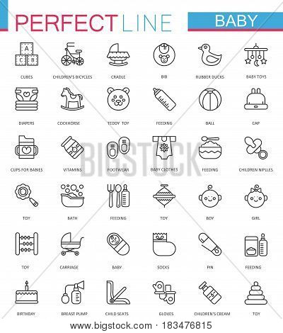 Baby care toys, kid feeding thin line web icons set