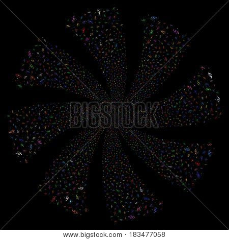Galaxy fireworks swirl rotation. Vector illustration style is flat bright multicolored iconic symbols on a black background. Object flower constructed from random icons.