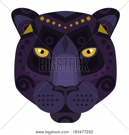 Black Panther puma Head Logo. Vector decorative Emblem
