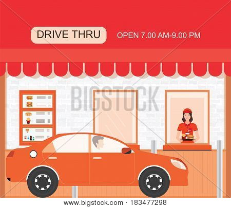 Drive thru fast food restaurant on a brick building flat design vector illustration.
