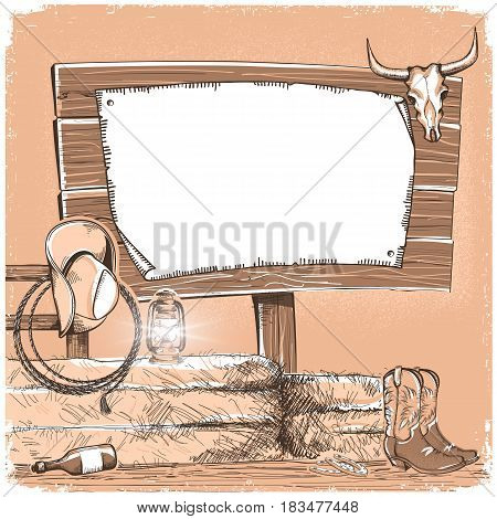 Cowboy Background With Wood Board For Text. American Ranch Monochrome Illustration