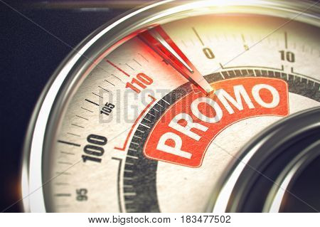 Promo Rate Conceptual Balance with Text on the Red Label. Business or Marketing Concept. 3D Illustration.