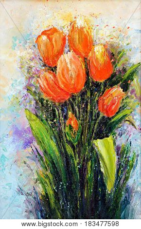 Original oil painting showing orange tulip flowers bouquet. Genus of perennial bulbous plants in the lily family .Modern Impressionism