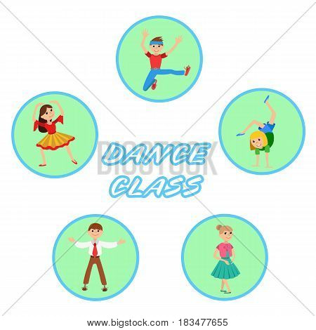 Children dancing round icons set vector illustration isolated on white background with lettering
