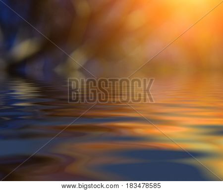 Nice spring background with water surface and sun rays.