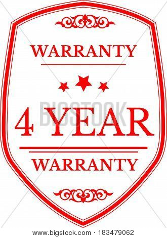 4 years warranty label icon vector background