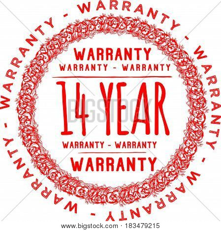 14 years warranty label icon vector background