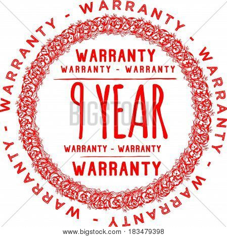 9 years warranty label icon vector background