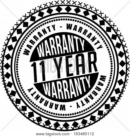 11 years warranty label icon vector background