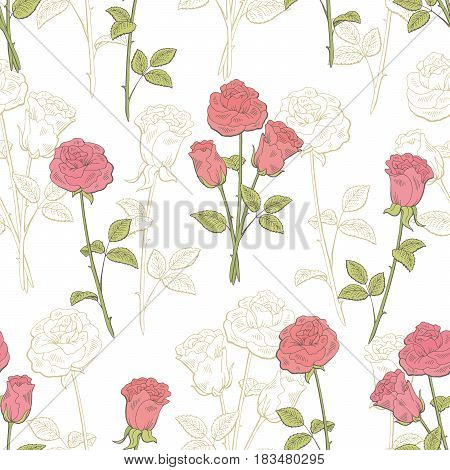 Rose flower graphic pink color seamless pattern sketch illustration vector