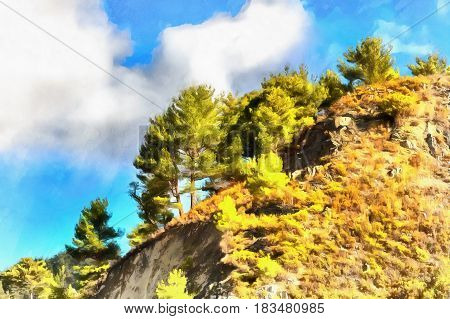 Colorful painting of landscape in Troodos mountains, Cyprus