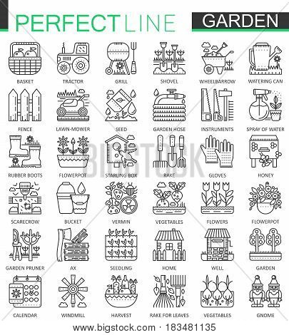 Gardening and flower outline concept symbols. Perfect thin line icons. Modern linear style illustrations set