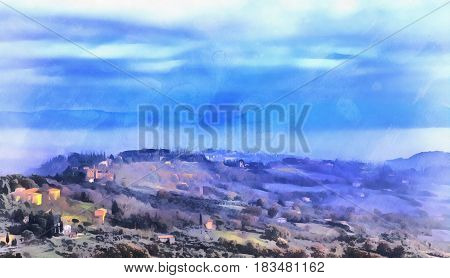 Landscape colorful painting with small town, Perugia, Umbria, Italy