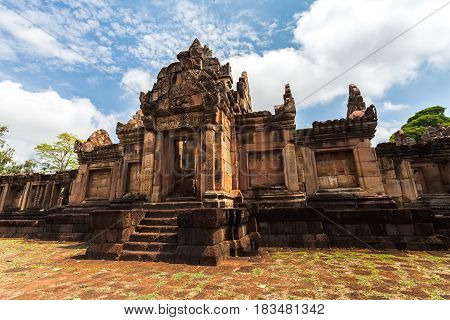Prasat Muang Tam historical park is Castle Rock old Architecture about a thousand years ago at Buriram ProvinceThailand ( Generality in Thailandand kind of art decorated in Buddhist churchtemple paviliontemple hall.They are public)