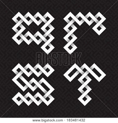 Font of interwoven strips. Q, R, S, T white relief letters on a black patterned background.