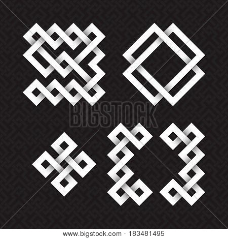 Font of interwoven strips. Nine, zero, plus, brackets white relief figures on a black patterned background.