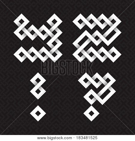 Font of interwoven strips. Y, Z white relief letters, exclamation and question marks on a black patterned background.