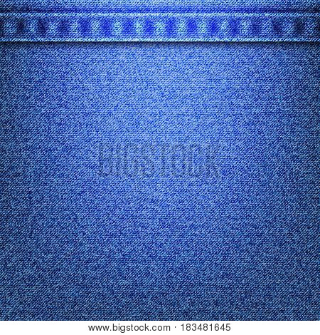 Denim jeans texture and seams without strings in the top. Vector illustration