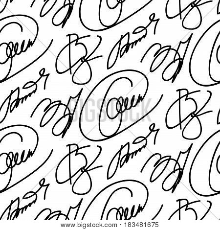 Collection of signatures fictitious Autograph. Personal signature isolated on white background. Abstract seamless monochrome pattern of doodle hand drawn lines. Black white wallpaper.