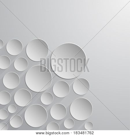 Abstract paper circles of white color in different sizes isolated on light background. For business inforgaphics or presentation, banners, web-design