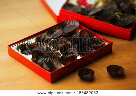 Too mush sweets. Empty Box of chocolates or confectionery.