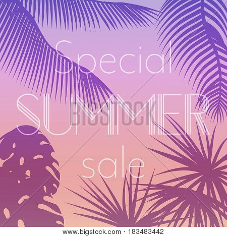 Vector illustration poster of special summer sale text on the sunset background of palm leaves silhouettes