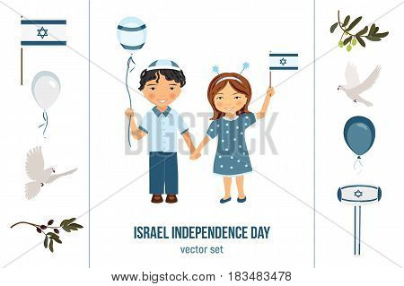 Yom Haatzmaut or Yom Yerushalayim. Israel independence day or Jerusalem day vector clipart set. Kids with flags and balloons, pigeons with olive branches.