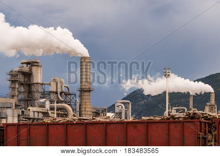 Smokestacs Of Industrial Plant.