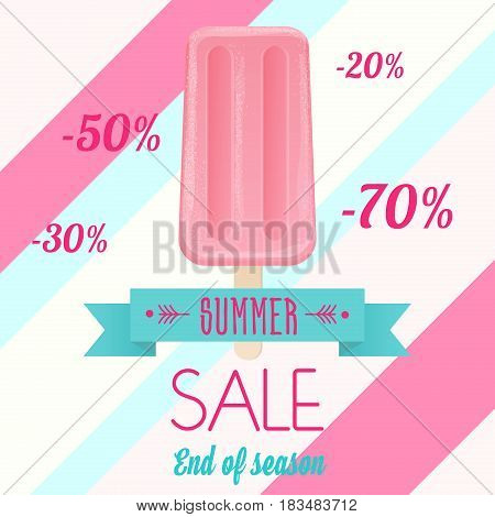 Vector illustration of the pink colored ice cream with summer sale end of season text.