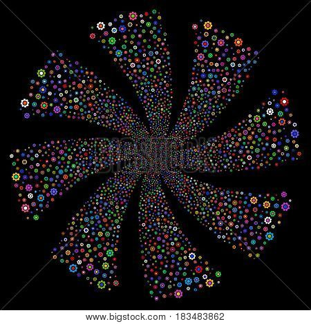 Gear fireworks swirl rotation. Vector illustration style is flat bright multicolored iconic symbols on a black background. Object flower created from random design elements.