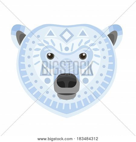 Polar bear Head Logo. White bear Vector decorative Emblem