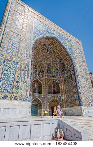 Colorful Exterior Of Tilya-kori Madrasah, Samarkand Registan