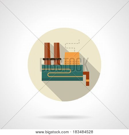 Symbol of factory or plant contaminating air and water or earth. Environmental pollution problem. Industrial building and architecture. Round flat vector icon, long shadow design.
