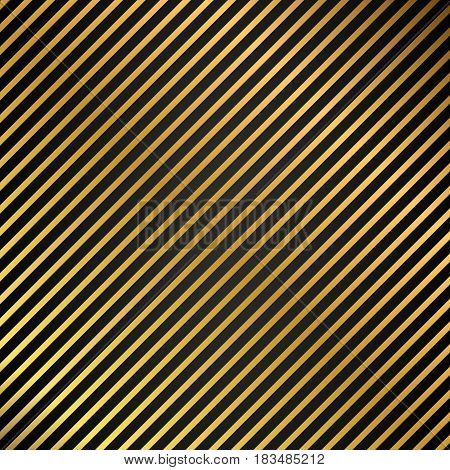Oblique lines seamless gold metal texture striped background on black background vector