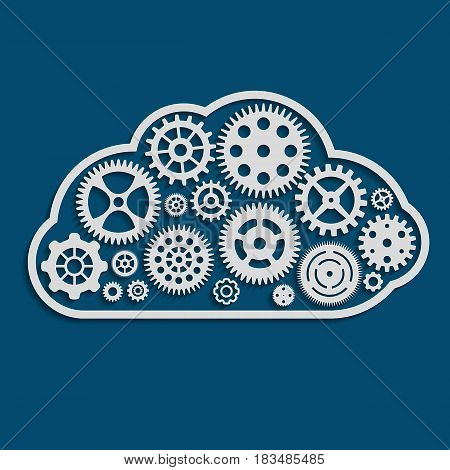 vector illustration of cloud made of cogwheels