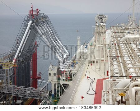 Oil and gas industry - liquefied natural gas tanker LNG under cargo operations