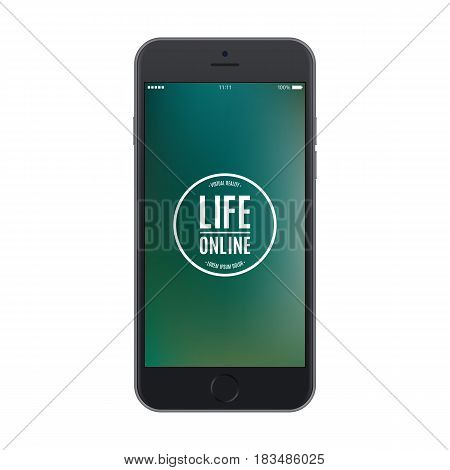 smartphone frosted black frosted color with colored screen isolated on white background. stock vector illustration eps10
