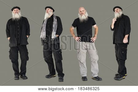 Adult Men Set Gesture Standing Studio Isolated