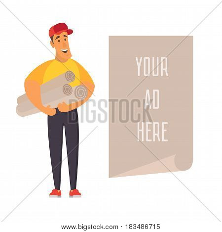 Salesman holding promotion banner with place for advertisement. Flat vector illustration.