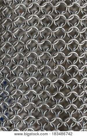 Texture of chainmail of a medieval armor knight, Pattern, background, closeup, detail