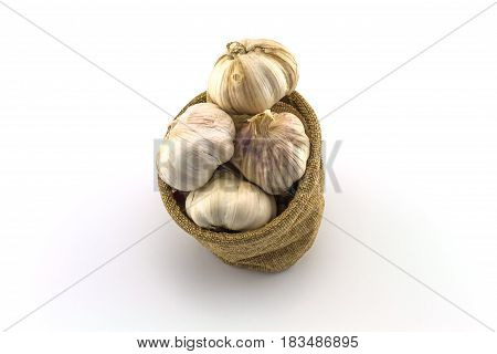 Close up dry garlic in sacks sisal isolated on white background on top view