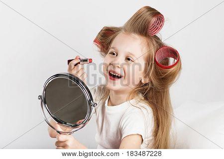 Fashion Baby Girl Is Doing Makeup And Having Fun